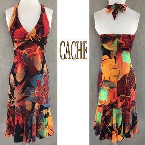 Cache Dresses - Tropical Print Rayon Jersey Tie Back Halter Dress